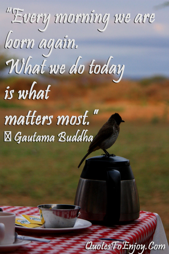 Every morning we are born again. What we do today is what matters most ― Gautama Buddha