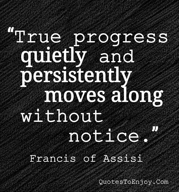 True progress quietly and persistently moves along without notice. Francis Of Assisi