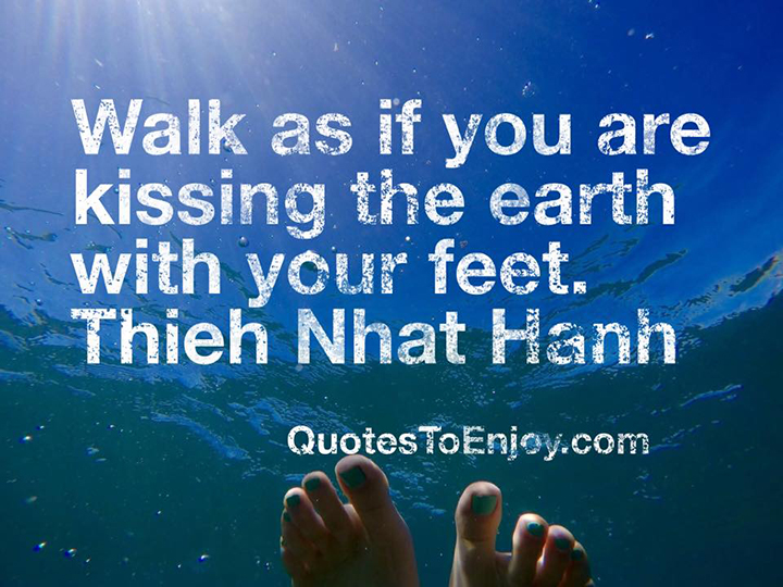 Walk as if you are kissing the Earth with your feet. - Thich Nhat Hanh