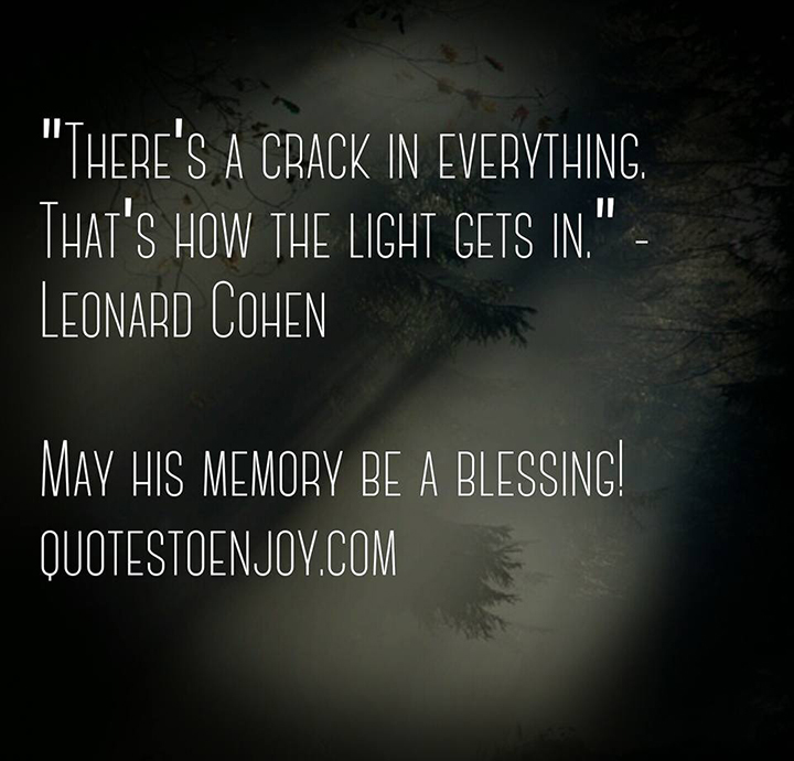 There's a crack in everything. That's how the light gets in. - Leonard Cohen