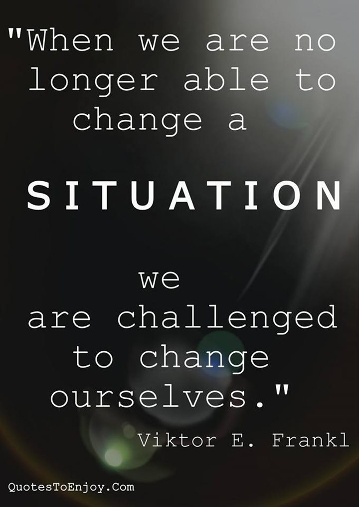 When we are no longer able to change a situation - we are challenged to change ourselves. - Viktor E. Frankl