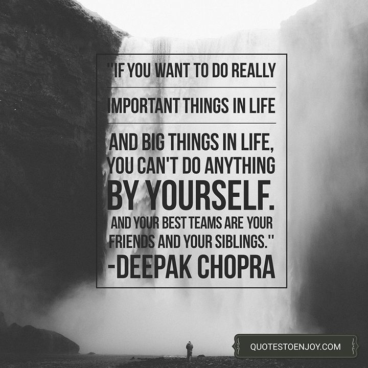 If you want to do really important things in life and big things in life, you can't do anything by yourself. And your best teams are your friends and your siblings. Deepak Chopra