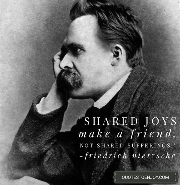 Shared joys make a friend, not shared sufferings. - Friedrich Nietzsche