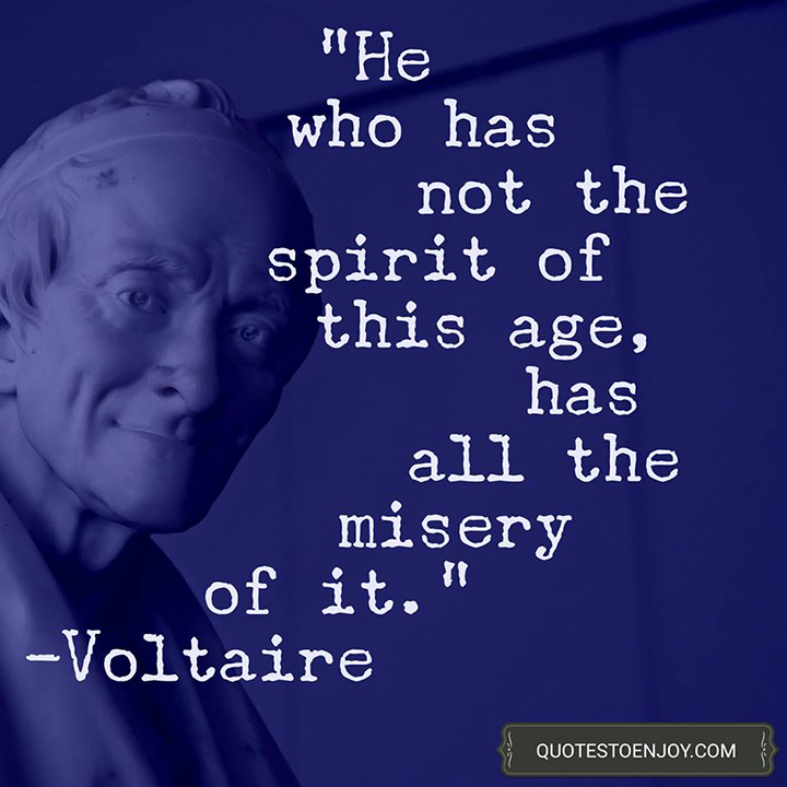 He who has not the spirit of this age, has all the misery of it. -Voltaire