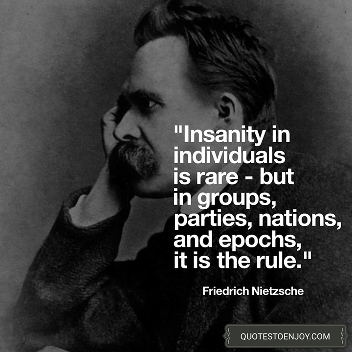 Insanity in individuals is something rare - but in groups, parties, nations and epochs, it is the rule. - Friedrich Nietzsche