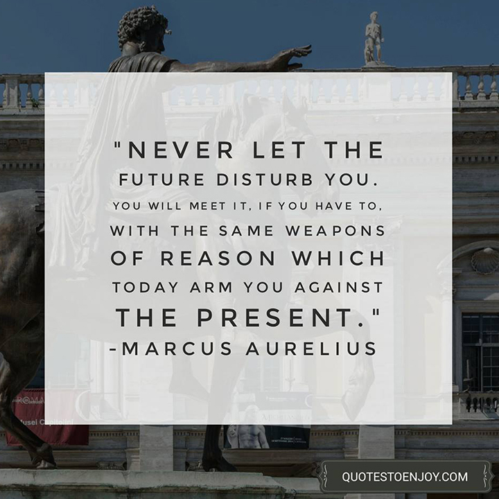 Never let the future disturb you. You will meet it, if you have to, with the same weapons of reason which today arm you against the present. - Marcus Aurelius