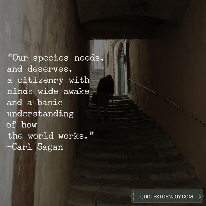 Our species needs, and deserves, a citizenry with minds wide awake and a basic understanding of how the world works. - Carl Sagan