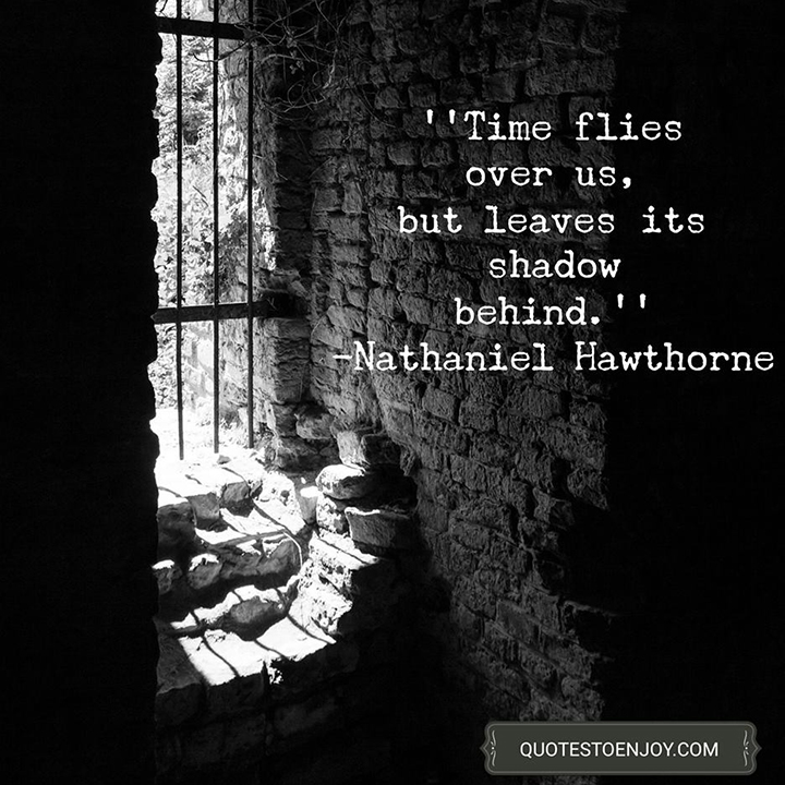 Time flies over us, but leaves its shadow behind. - Nathaniel Hawthorne