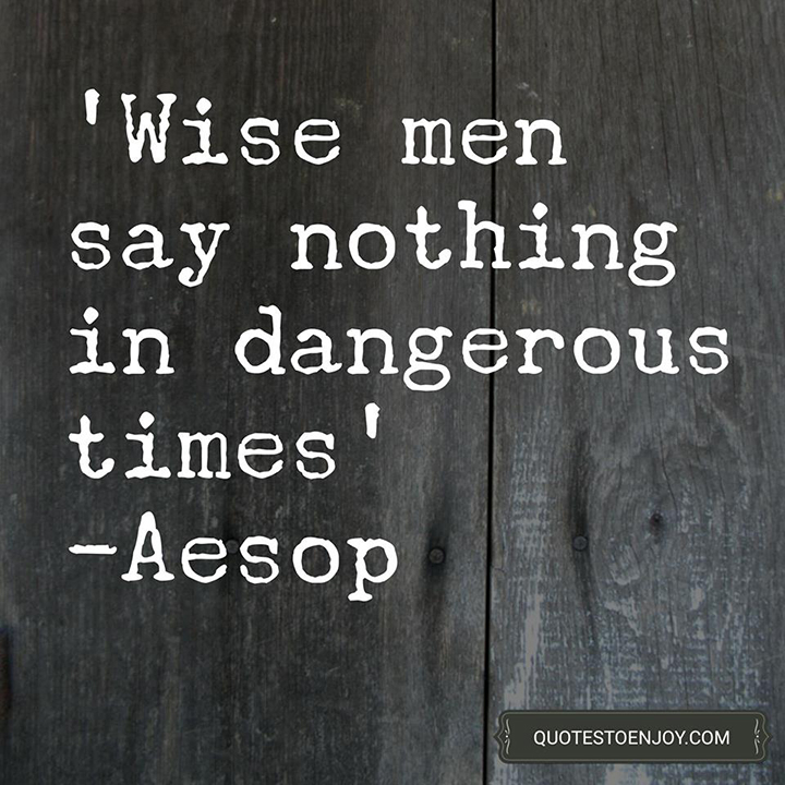 Wise men say nothing in dangerous times. - Aesop