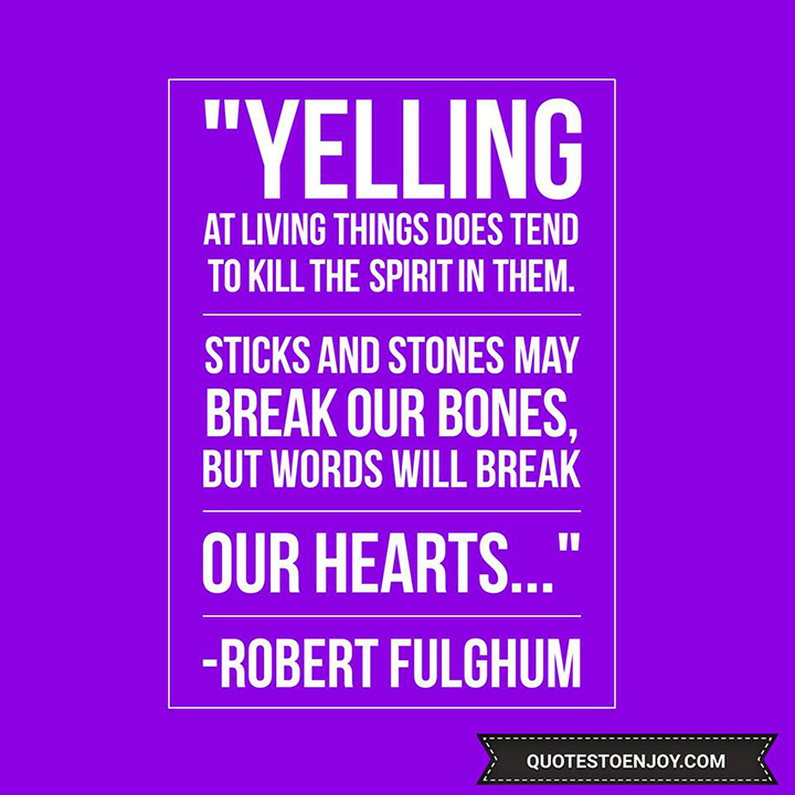 Yelling at living things does tend to kill the spirit in them. Sticks and stones may break our bones, but words will break our hearts. - Robert Fulghum