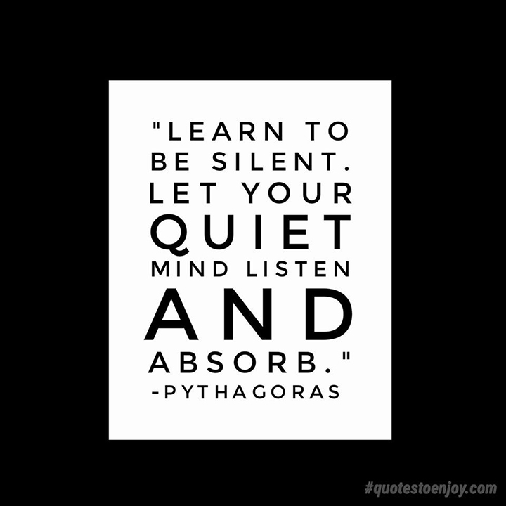 Learn to be silent. Let your quiet mind listen and absorb. - Pythagoras
