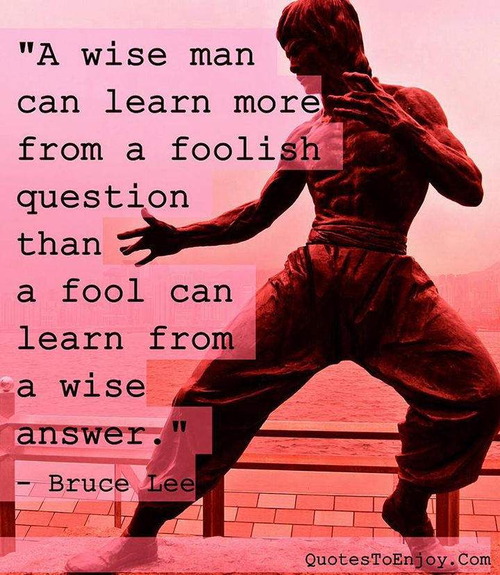 A Wise Man Can Learn More From A Foolish Question Than A Bruce Lee