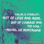 Valor is stability, not of legs and arms, but of courage and the soul. - Michel de Montaigne